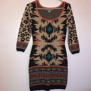 Print sweater dress